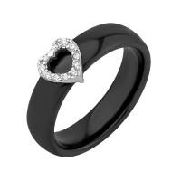 Серебряное кольцо с фианитами и керамикой ЮП1017010470Ч