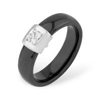 Серебряное кольцо с фианитами и керамикой ЮП1017010471Ч