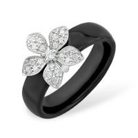Серебряное кольцо с фианитами и керамикой ЮП1017010474Ч