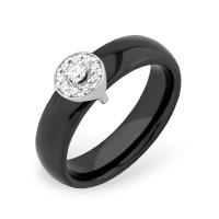 Серебряное кольцо с фианитами и керамикой ЮП1017010476Ч