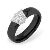 Серебряное кольцо с фианитами и керамикой ЮП1017010554Ч