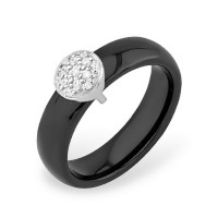Серебряное кольцо с фианитами и керамикой ЮП1017010477Ч
