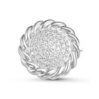 Серебряная брошь с фианитами ДПС060142