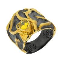 Серебряное кольцо с сваровски ПВР-0137Бжл
