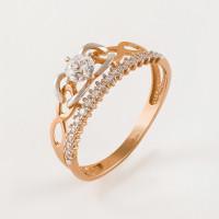 Золотое кольцо с фианитами в виде короны