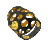 Серебряное кольцо с сваровски ПВР-0147Бжл