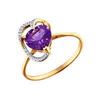 Золотое кольцо с аметистами и фианитами ДИ713482