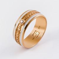 Золотое кольцо обручальное с бриллиантом ШЛКЭБ-22