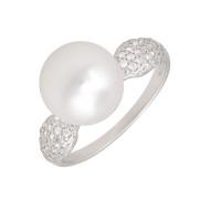 Серебряное кольцо с фианитами и жемчугом сваровски