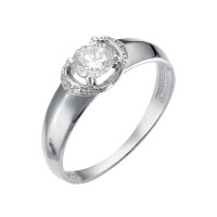 Кольцо из белого золота с фианитами для помолвки