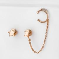 Золотые серьги гвоздики с фианитами СН01-215077
