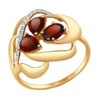 Золотое кольцо с гранатами и фианитами ДИ714732