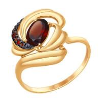 Золотое кольцо с гранатами и фианитами ДИ714740