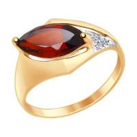 Золотое кольцо с гранатами и фианитами ДИ714851