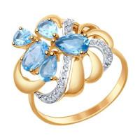 Золотое кольцо с топазами и фианитами ДИ714749