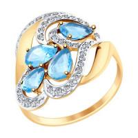 Золотое кольцо с топазами и фианитами ДИ714894