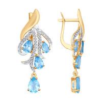 Золотые серьги подвесные с топазами и фианитами ДИ725186