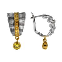 Серебряные серьги подвесные с сваровски ПВЕ-0144жл