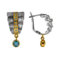 Серебряные серьги подвесные с сваровски ПВЕ-0144гл