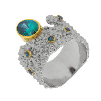 Серебряное кольцо с сваровски ПВР-0131гл