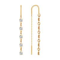 Золотые серьги протяжки с фианитами ДИ022813