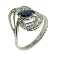 Золотое кольцо с бриллиантами и сапфиром АО11039-202