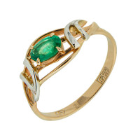 Золотое кольцо с изумрудом АО11458-101