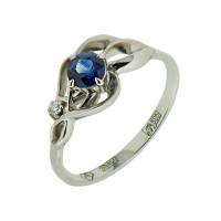 Кольцо из белого золота с сапфиром и бриллиантом