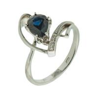 Золотое кольцо с бриллиантами и сапфиром АО1578-202
