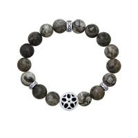 Серебряный браслет с агатами, эмалью и фианитами ДИ8510500005