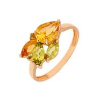 Золотое кольцо с хризолитами и цитринами ЮИК120-5065М19