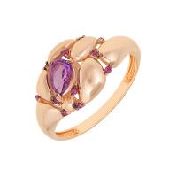 Золотое кольцо с аметистами и фианитами ЮИК124-5035М1