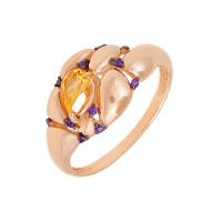 Золотое кольцо с цитринами и фианитами ЮИК124-5035М2ц