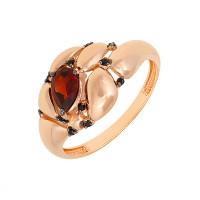 Золотое кольцо с гранатами и фианитами ЮИК124-5035М5