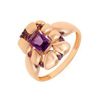 Золотое кольцо с аметистами и фианитами ЮИК124-5037АмФ