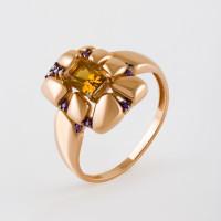 Золотое кольцо с цитринами и фианитами ЮИК124-5037М2