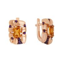 Золотые серьги с цитринами и фианитами ЮИС124-5037М2