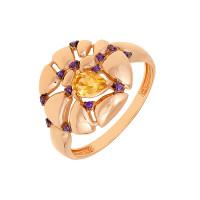 Золотое кольцо с цитринами и фианитами ЮИК124-5038М2ц
