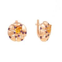 Золотые серьги с цитринами и фианитами ЮИС124-5038М2