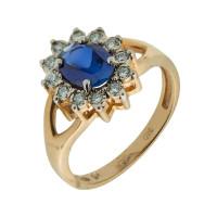 Золотое кольцо с бриллиантами и сапфирами КРК3213160/9
