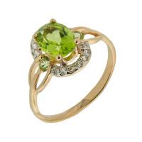 Золотое кольцо с хризолитами и фианитами ГЕК359112