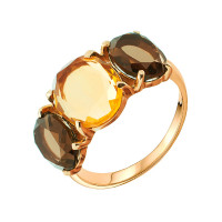 Золотое кольцо с топазами и цитринами