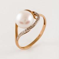 Золотое кольцо с жемчугом ПЭ1901444Р