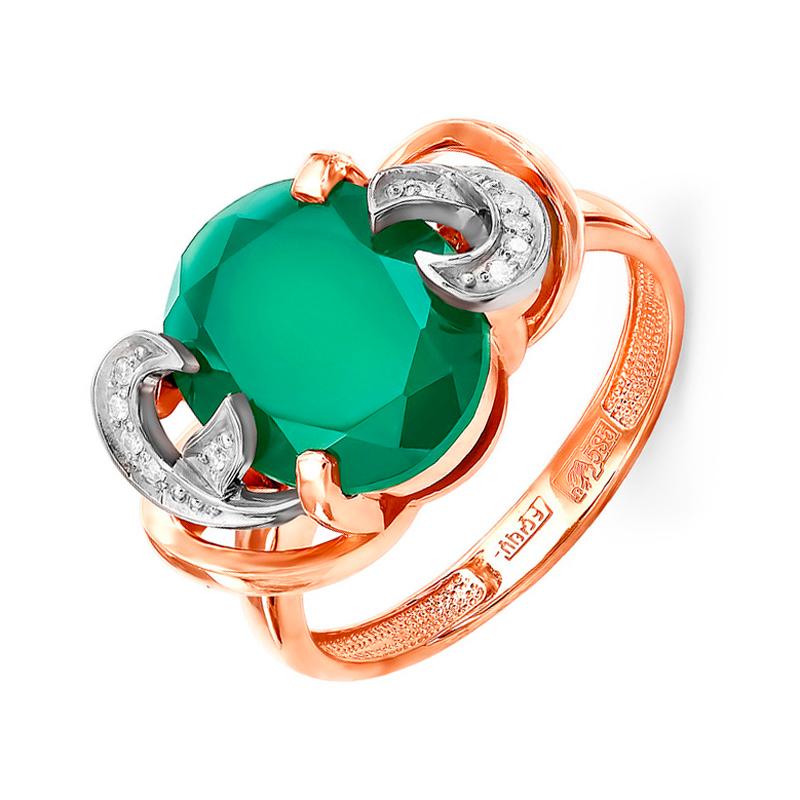 Золотое кольцо с бриллиантами и ониксами 9К11-0510