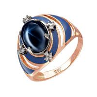 Золотое кольцо с бриллиантами, сапфиром и эмалью 9К11-0396