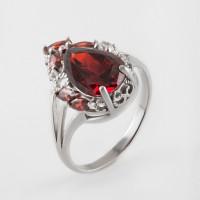 Серебряное кольцо с кварцем плавленым и фианитами ДХКР-087-12