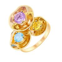 Золотое кольцо с аметистами, топазами и цитринами ДИ8710017