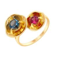 Золотое кольцо с топазом и родолитом