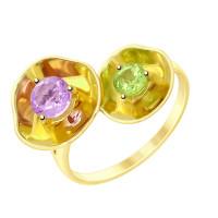 Золотое кольцо с аметистом и хризолитом