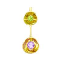 Золотая подвеска с хризолитом и аметистом ДИ8730009